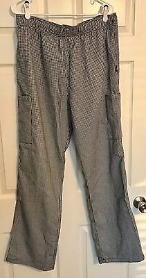 Dickie's Men's Chef Restaurant Checkered Black And White Pants Size XL