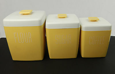 Vintage 3pc. Yellow Plastic Canister Counter Set with Lids Flour Sugar Coffee