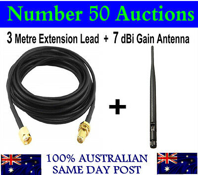 7 dBi Gain 2.4GHz 802.11 b/g/n WiFi Omni Antenna + 3 Metre Extension Lead