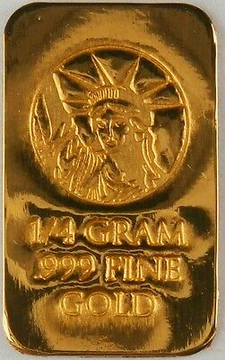 1/4 GRAM GOLD BAR OF 24K PURE .999 FINE GOLD STRATEGIC BULLION L31a