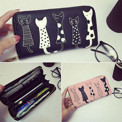 Cartoon Cat Women Lady Leather Clutch Wallet Long PU Card Holder Purse Handbag
