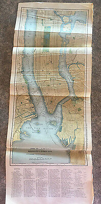 Antique Map New York City 1897 Matthews Northrup 9 1/2 x 24 inches Original