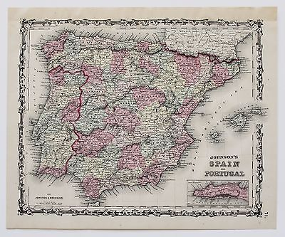 1861 Spain and Portugal Map Strait of Gibraltar Railroads Villages Original RARE