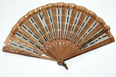 Antique Wooden Hand Fan- Silk & Tulle