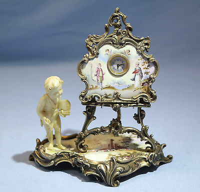 Austrian Sterling Silver Enamel Easel Clock Carved Cherub as Painter Circa 1890s