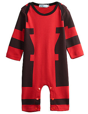 Baby Boy Deadpool Romper Outfit Party Gift Long Sleeves Jumpsuit 18-24M