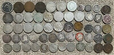 40 low grade Type Coins Lot 2: Two, Three Cents, Capped Bust Dimes, Flying Eagle