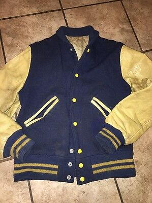 Vintage Letterman Jacket 50s 60s  wool body leather sleeves Small