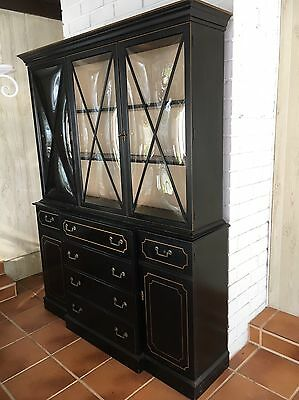 GEORGE III STYLE BLACK BREAKFRONT CHINA CABINET w/ BUBBLE GLASS