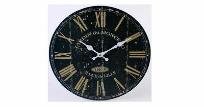 Large Black/Gold French Wall Clock, Vintage Antique Retro Rustic Stylish Design