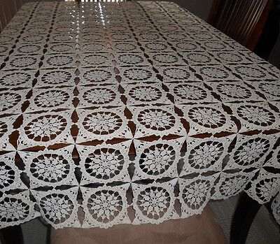 "Antique Hand Crochet Acru Tablecloth - 76"" X 61"""