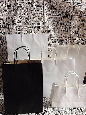 50 x White/Black Paper Carry Bags - with Handle / Shopping Bags / Gift Bags