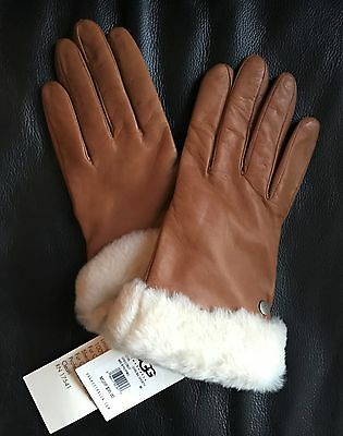 UGG Gloves Light Brown Shearling Leather with Cashmere Lining and Cuff NWT
