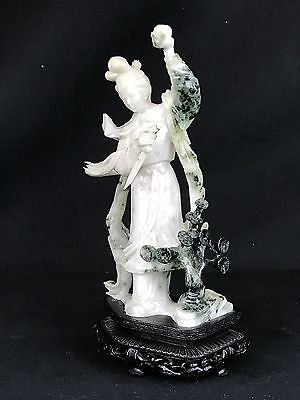 Rare 19th Century Nephrite Jade Statue Carving Of A Chinese Warrior Princess