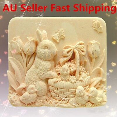 3D Rabbit Chicken DIY Handmade Mould Silicone Soap Craft Flexible Candle Mold