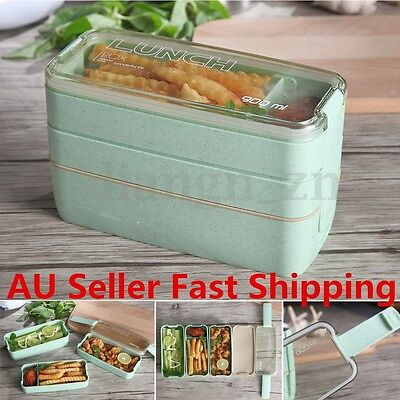 3 Tier Portable Microwave Bento Lunch Box Picnic Food Storage Container w/ Spoon