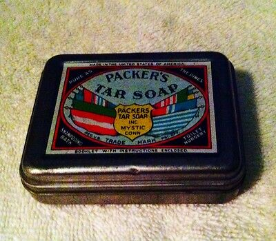 Vintage Collectible Packer's Tar Soap Empty Tin Container-Used