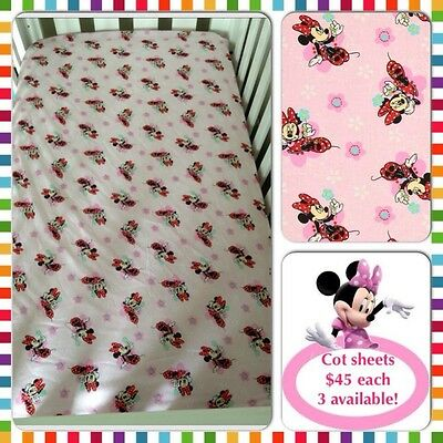Minnie Mouse Fitted Cot Sheet - price reduced to $30 each!