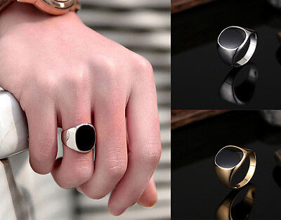 Solid Polished Stainless Steel Band Biker Men Signet Ring Black Silver Size 7-12