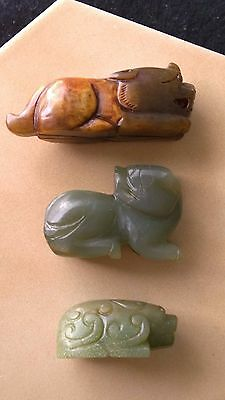 Group of Three Nephrite Jade Pixiu Amulets-- Netsuke-- Pendants Nicely Carved.
