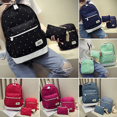 Women Backpack Girl School Laptop Shoulder Bag Rucksack Canvas Travel Bags 3Pcs