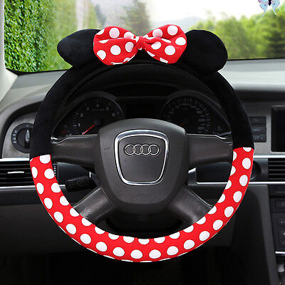1x Universal Durable Plush Anti-Slip Auto Car Steering Wheel Cover Pink bow-knot