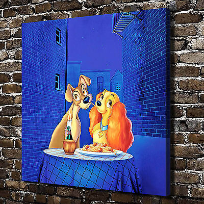 Disney Lady and the Tramp Paintings HD Print on Canvas Home Decor Wall Pictures