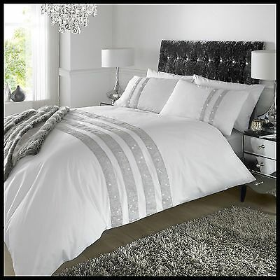 White & Silver Stylish Lace Diamante Sequin Duvet Cover Luxury Beautiful Bedding