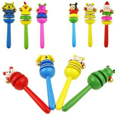 Educational Toy Cartoon Animal Wooden Handbell Musical Instrument Baby Bell Gift
