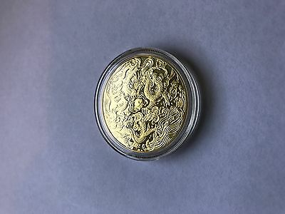 Gold Plated Coin 32Mm  Year Of Dragon 2012 Unc In The Airtite Capsule