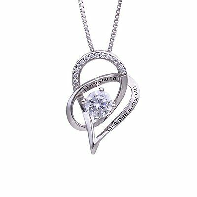 NEW Jewelry 925 Sterling Silver Love Heart Pendant Necklace Chain Women Fashion