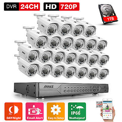 ANNKE 1TB Video 24CH 720P DVR 24x 1MP Security Outdoor Bullet Camera System HDMI