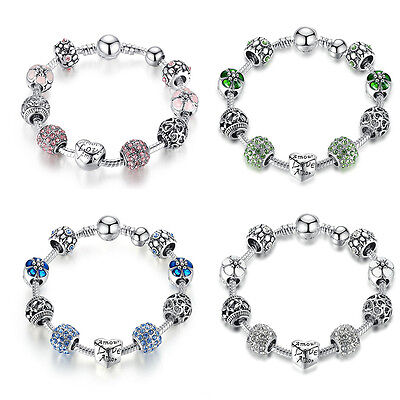 Christmas Women 925 Silver Charm Bangles With Pink & Blue Crystals Charms Bead