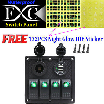 Purishion Rocker Switch Panel Dual USB Power Socket 12V-24V for Car Marine Boat