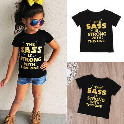 Fashion Kids Girls Short Sleeve Tops T-Shirt Letter Print Summer Cotton Clothes