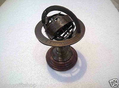 Antique Brass Armillary Globe Vintage Collectible Decorative Gift