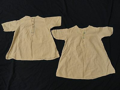 Lot of 2 Vintage 1940s Baby Doll White Flannel Gowns Embroidered