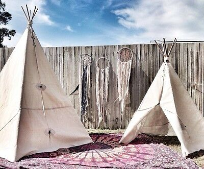 TEEPEE Tent 1.5m Tall, Children Toy Tipi Tent Cubby Indian Outdoor Cotton Canvas