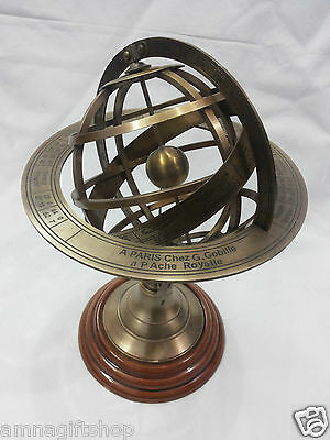 "Antique Nautical Brass Armillary Horoscope World Globe 8 "" Table Top Decorative"