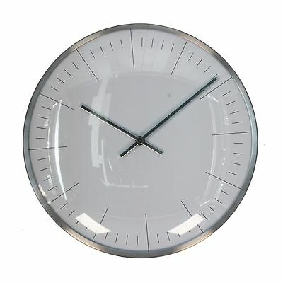 Small Silver Round Metal Wall Clock with Roman Dial