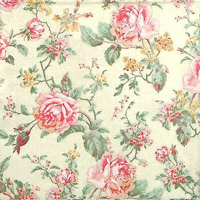 4x Single Paper Napkins - English Style Roses- for Party Decoupage Craft