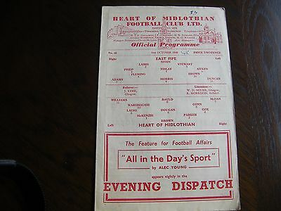 Hearts of midlothian v Queen of the south 1948 football programme