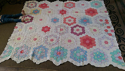 "Antique *Grandmas Flower Garden quilt* hand stitched* 84"" x 70"" Cutter/craft*"