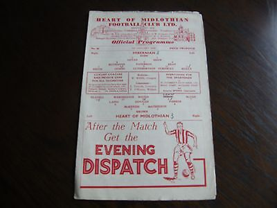 Hearts of midlothian v Hibernian 1st January 1949 football programme
