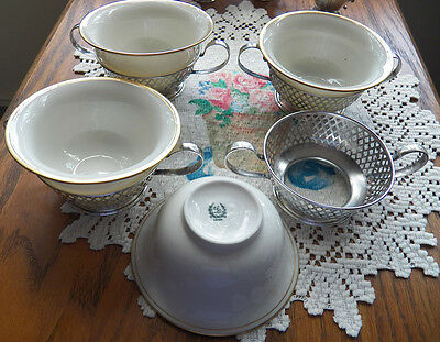 4 Unger Brothers Sterling 2 Handle Bouillon Cups with Lenox Liners EUC