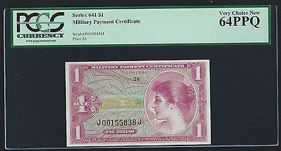 $1 Military Payment Cetificate Mpc Series 641 Pcgs 64 Ppq  Unc 1St Printing
