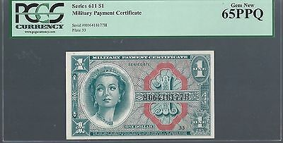 $1 Military Payment Cetificate Mpc Series 611 Pcgs 65 Ppq Gem Uncirculated