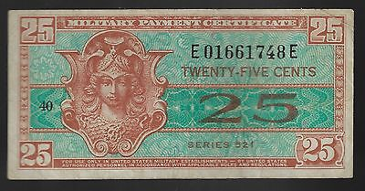 Series 521 Military Payment Certificate 25 Cents