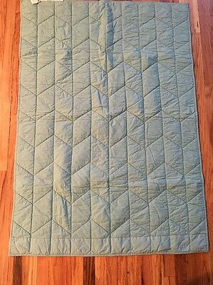 Pottery Barn Baby Blanket Quilted Jersey Knit Aqua Grey Quilt  NWOT