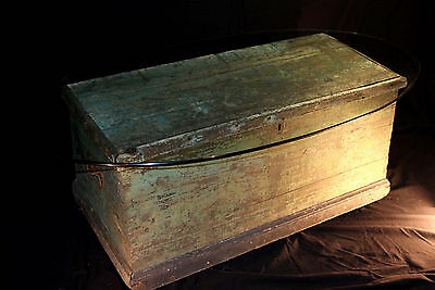Antique Vintage Ship's Dovetail Sea Chest Trunk Coffee Table Wood Box Decor